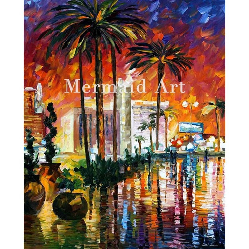 Buy Hand Painted Little Friend Colorful Landscape Abstract Palette Knife Modern Oil Painting Canvas Wall Living Room Artwork Fine cheap