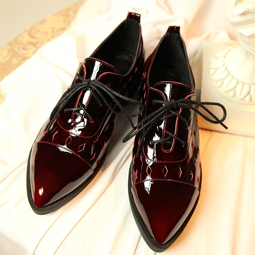2015 Hot British Style Genuine Leather Oxford Shoes For Women Shoes Fashion Women Sneakers Flats