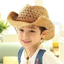 Hot Korean Kids Cowboy Hats Hip Hop Straw Hat For Children Sun Caps For Summer Free SHipping(China (Mainland))