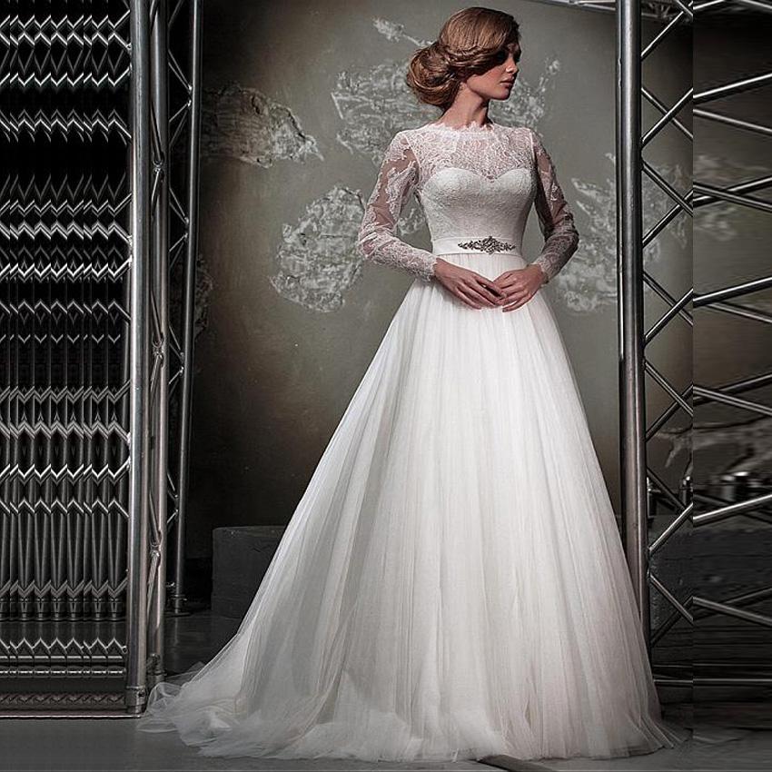 2017 Arabic Wedding Dresses In Stock Long Sleeve Lace Wedding Dress Romantic Plus Size Vintage Cheap Vestido De Noiva(China (Mainland))