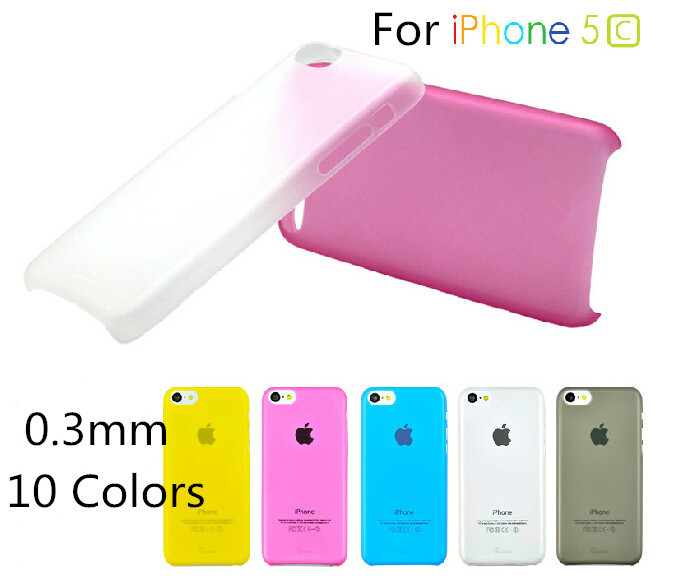 2015 No Direct Selling Plastic Candy Color Phone Case Multicolor 0.3mm Ultrathin Transparent Cover For Iphone 5c case(China (Mainland))