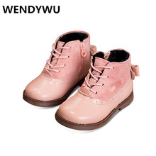 WENDYWU autumn winter baby girls fashion butterfly shoes for kids pink princess boots children genuine leather boots black(China (Mainland))