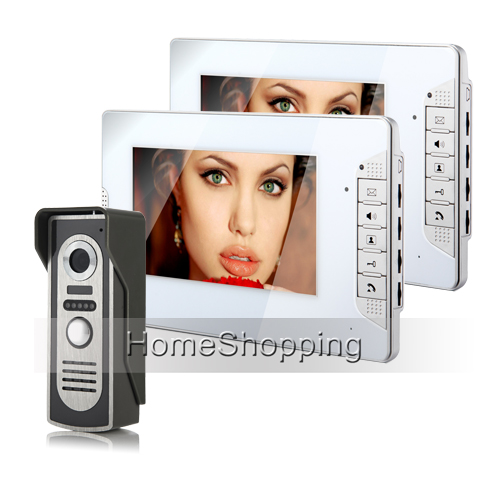 Brand New 7 inch Color Screen Video Intercom Door Phone 700TVL Door Bell Camera + 2 White Monitors Unlock System FREE SHIPPING(China (Mainland))