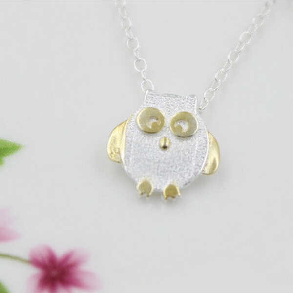 Vintage 925 Sterling Silver Owl Necklace cute Love gold Owl Necklaces Pendant for women Gifts girls Jewelry(China (Mainland))