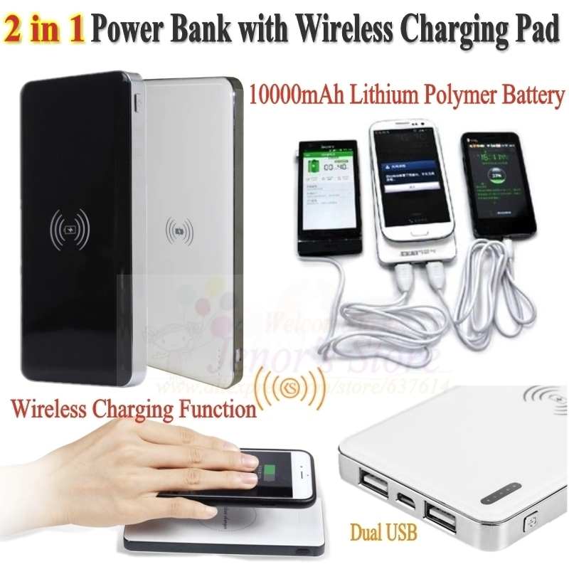 Qi Wireless Charger+ Dual USB Backup Battery Power Bank 10000mAh Charging Mobile Phone & Support Standard Devices - Online Store 637614 store