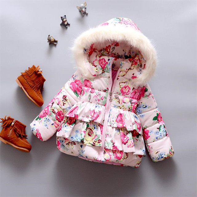 Зима Детские Пальто 2016 Новорожденных Девочек Супер Теплая куртка детская Мода цветочные печатных Хлопка мягкой одежда для новорожденных с капюшоном верхней одежды