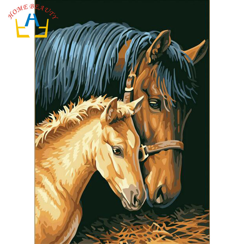 HOME BEAUTY oil painting by numbers diy picture animals drawing coloring on canvas painting by hand wall paint horse J010(China (Mainland))