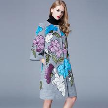 M-2XL Hot! 2016 Китайский Национальный Стиль Тяжелая Вышивка Аппликация Цветок 3 Четверти Рукав Шерстяное Пальто Свободно Верхняя Одежда(China (Mainland))