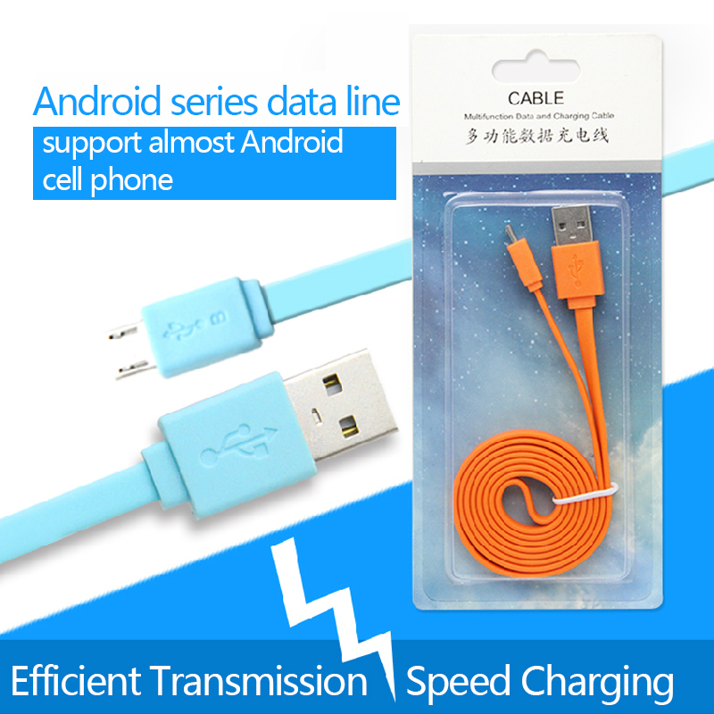 1M Colorful Flat Micro Usb Sync Data & Charge Charging Cable For Samsung S3 S4 S5 for HTC Nokia Android Phones(China (Mainland))