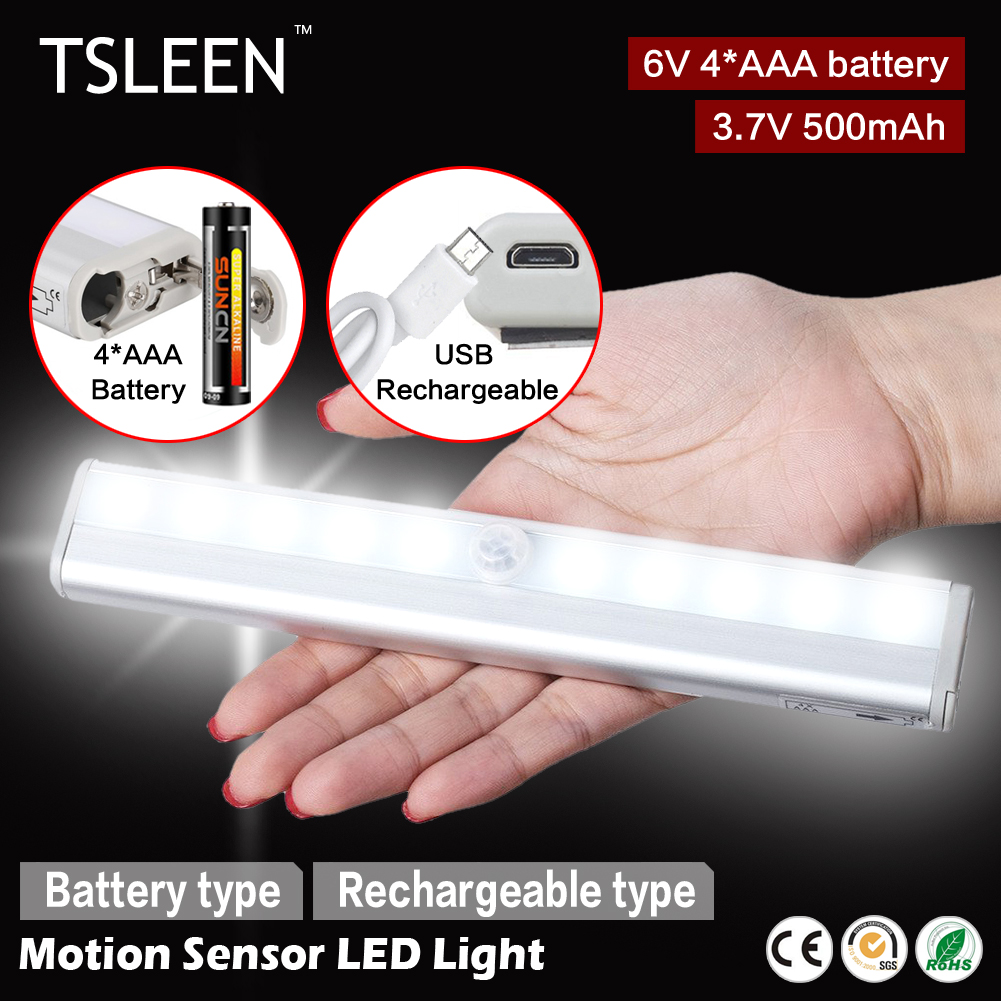 TSLEEN 1x cabinet pir motion sensor led cupboard shed garage light usb/battery powered(China (Mainland))