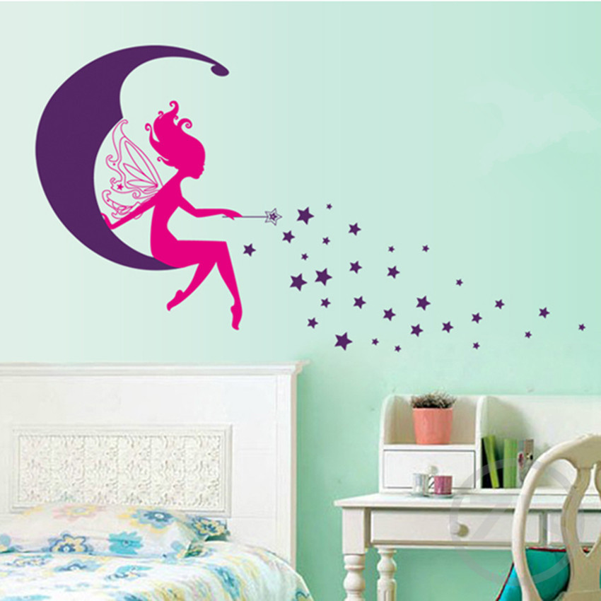 Flying fairy wall sticker child role of children 39 s diy for Fairy garden wall mural