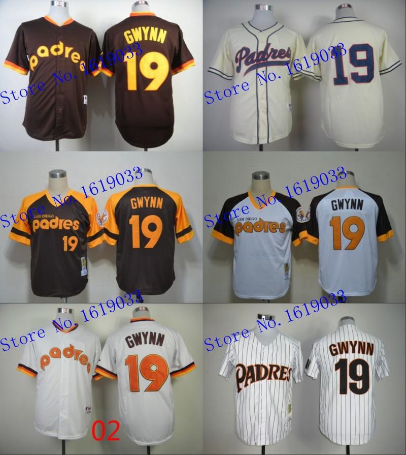 New MLB San Diego Padres throwback Jerseys Tony Gwynn 19# 1982 White 1984 Coffee Jersey Authentic baseball Jersey/shirts Cheap(China (Mainland))