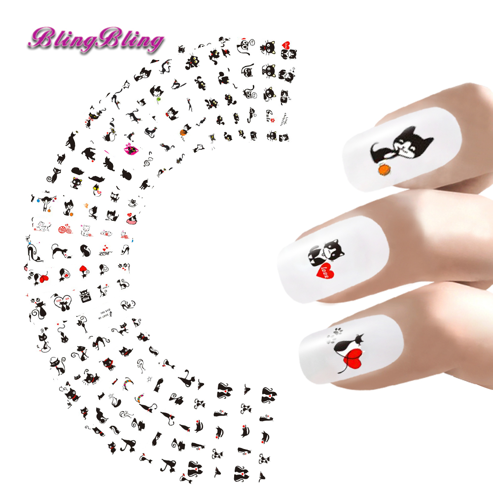 24sheets Nail Sticker Cat Designs Water Transfer Nails Art Loveliness Cartoon Cat Gel Beauty Decal Makeup Manicure Wrap Decals(China (Mainland))