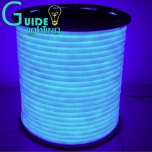 Free shipping Blue color flexible led neon light 10meters/lot DC24V led sign light low voltage led rope light  waterproof IP65(China (Mainland))
