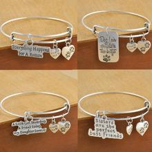 Buy Love Mother Daughter Heart Bangle Bracelets Family Gifts New Design Friend Charm Bangle Jewelry Gift for $1.69 in AliExpress store