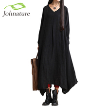Johnature 2017 Spring New Women Black Color Casual Dress Robe Long Sleeve V Neck Loose Brief Plus Size Irregular Long Dress Gown(China (Mainland))
