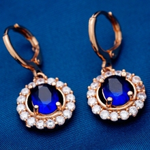 Fashion trend jewelry for wedding 18K Rose Gold Plated with  Cubic zirconia  Dangler Earrings Lady Women 3 color(China (Mainland))