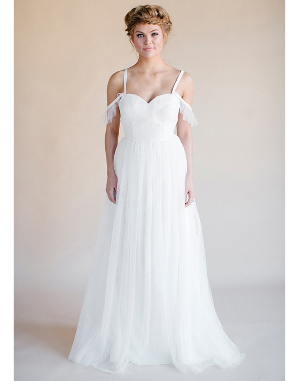 Plus size boho beach wedding dress criss cross back 2015 for Beach wedding dresses for plus size