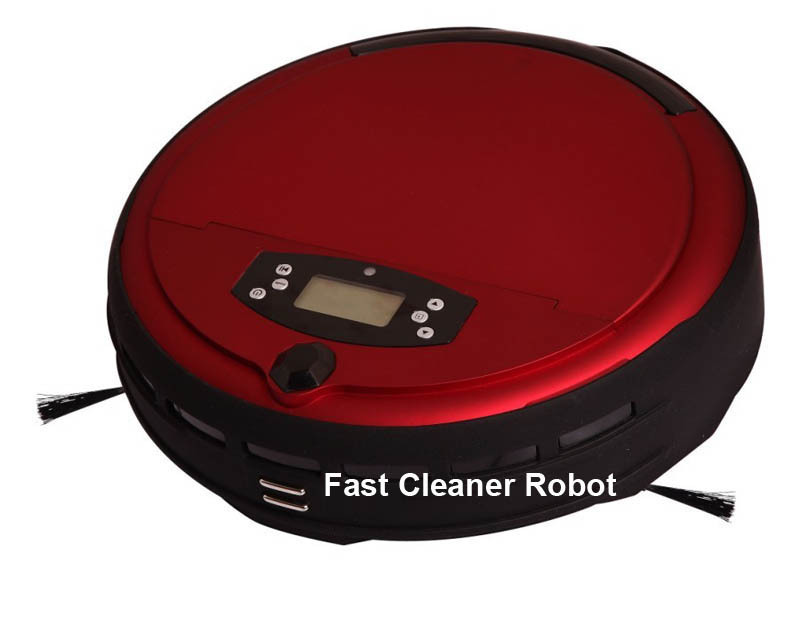 Free Shipping Voice Function Wet and Dry Vacuum Cleaner Robot With Cleaning Time Setting, LCD Screen,0.7L Dustbin(China (Mainland))