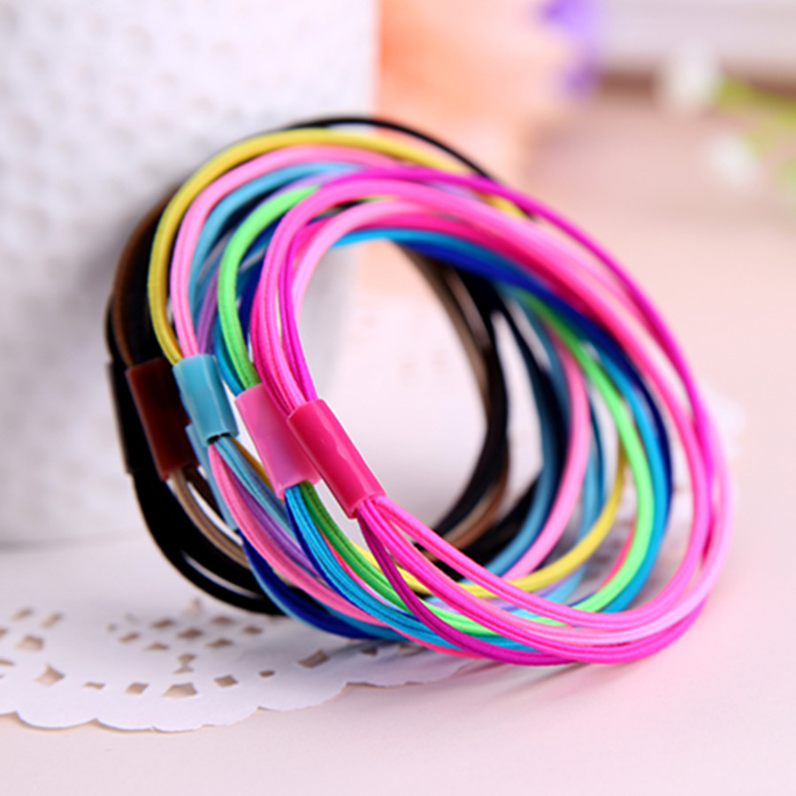 10pcs Fasion Lady Girl 4-in-1 Ponytail Holder Scrunchy Hair Rope Elastic Rubber Band Womens Headwear Hair Accessory(China (Mainland))