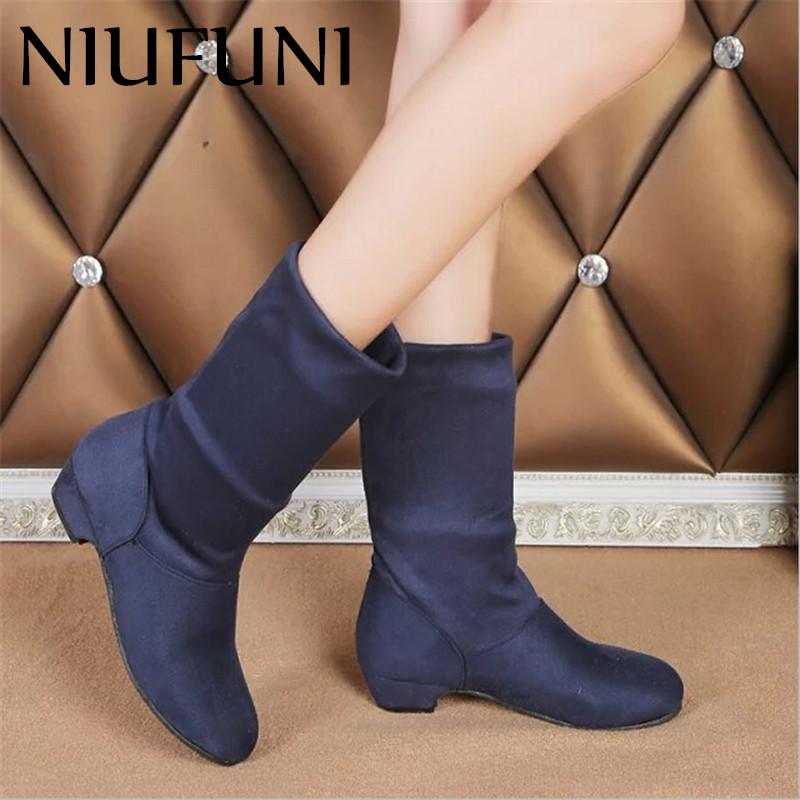 2016 Autumn Boots Women Female Round Toe Mid-calf Princess Sweet Boot Stylish Flat Flock Casual Ladies Boots 518(China (Mainland))