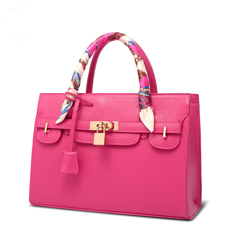 High Quality Women Gorgeous Handbag with silk scarves Lady Date Handle Bag with matal lock(China (Mainland))