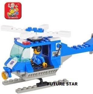 Freeshipping! SLuban Building Block Police Helicopter 3D Jigsaw Puzzle  Education-assembling toys for kids 85pcs