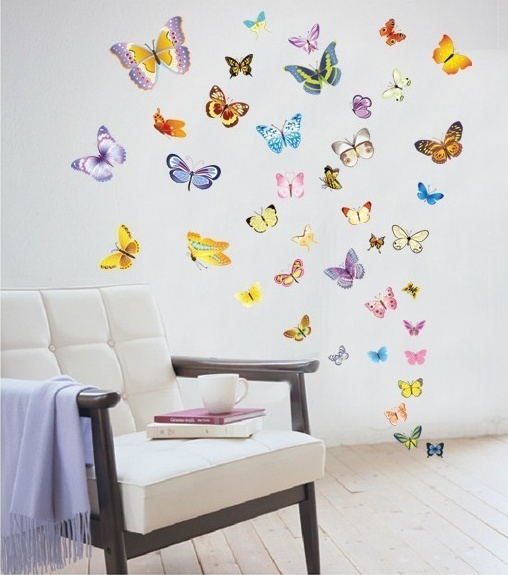 60PC Butterfly stickers for computer wall decoration stickers for kids chart wall stickers for kids room child wall stickers(China (Mainland))