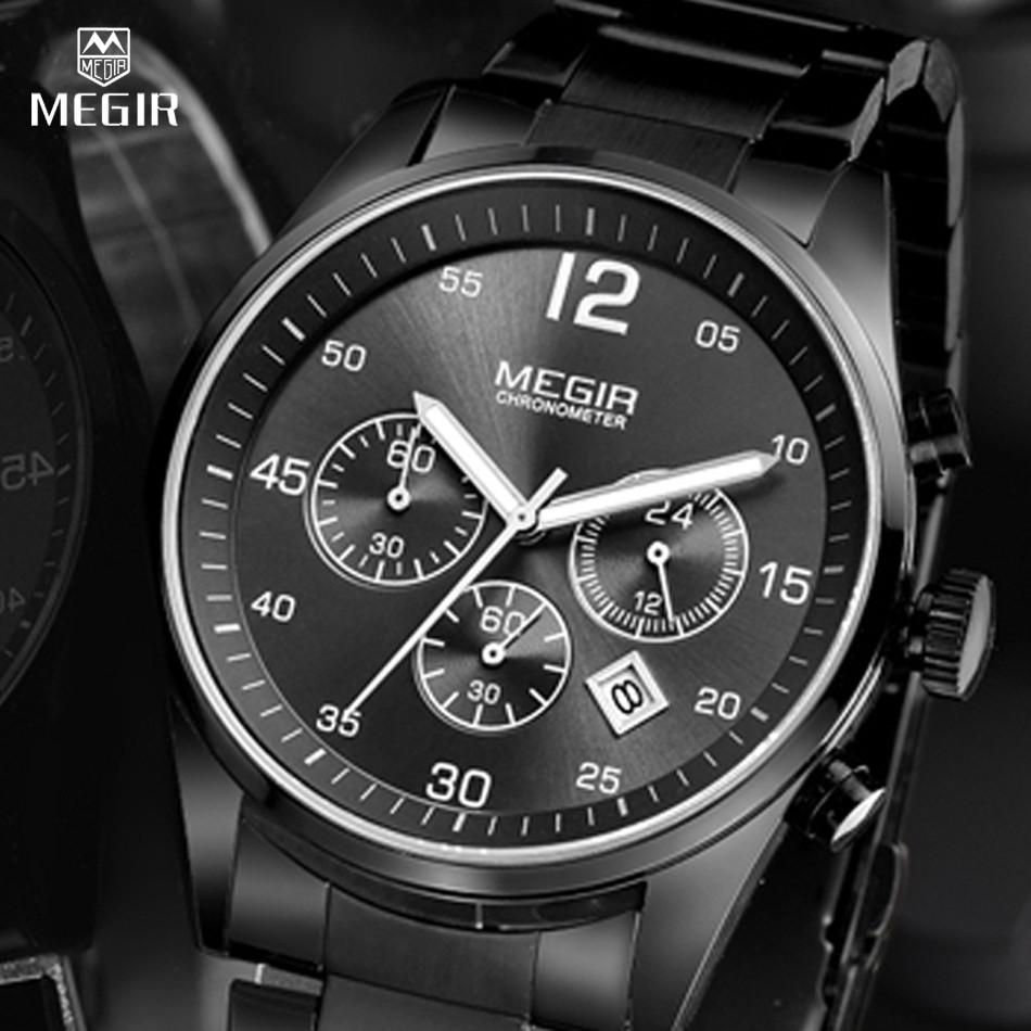 MEGIR Часы Мужчины Многофункциональный Военные Часы Хронограф Функция Черный Полная Сталь Роскошные Часы Мужчины Армия Часы Relogio
