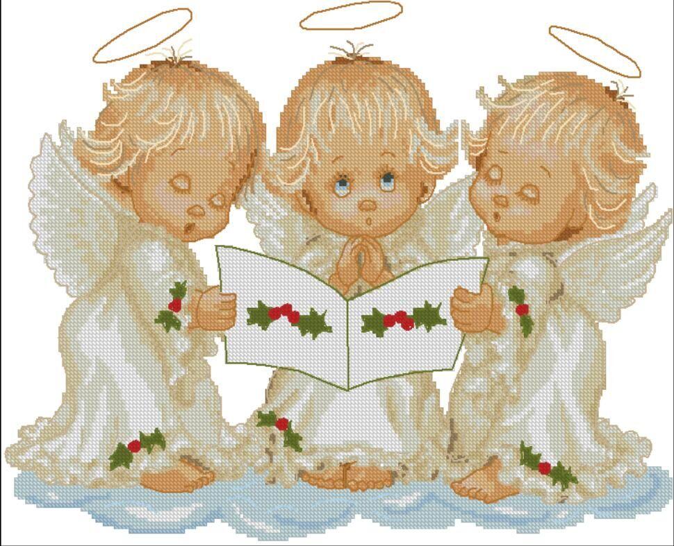 Ангелы три вышивка крестом 812