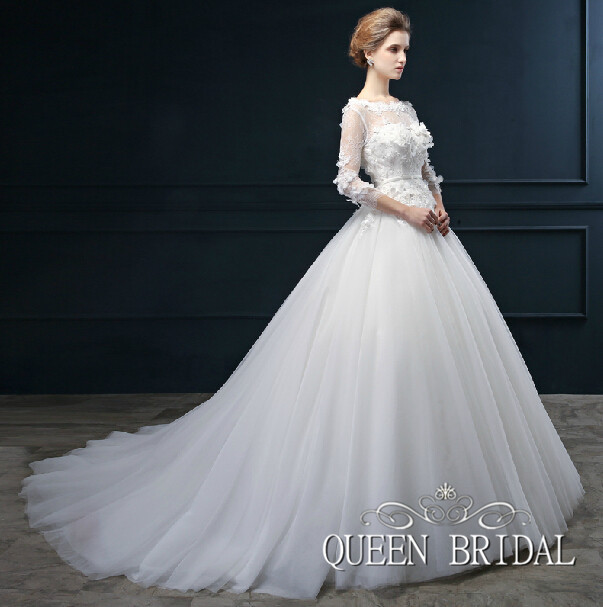 Wedding Dresses  Made In : Dress long train elegant sleeve wedding gowns bridal dresses made