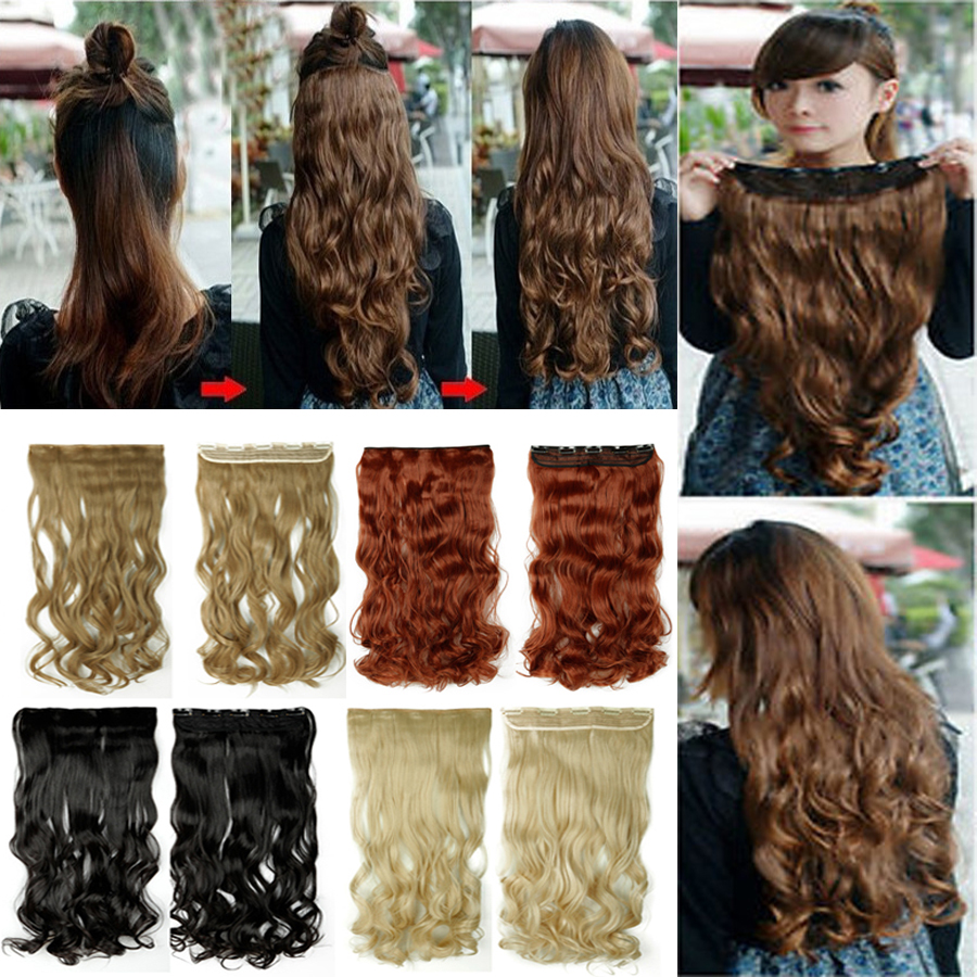 Curly 24'' 3/4 clip in hair extensions Full Pretty Girls head black brown blonde auburn red 18 color Synthetic Super sale(China (Mainland))