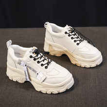Glimlach Cirkel 2019 Wit sneakers Vrouwen Platte platform Schoenen Microfiber Casual Cozy Schoenen Dikke bodem Dames High-top Sneaker(China)