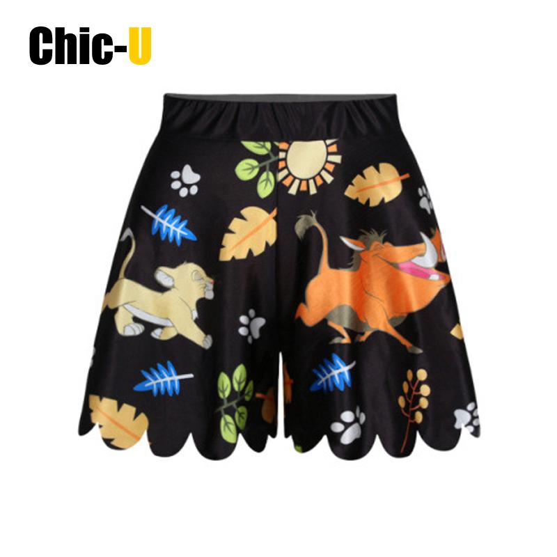 women shorts skirt cotton 3D cartoon print lion and pig on grass land summer fashion high waist for girl(China (Mainland))