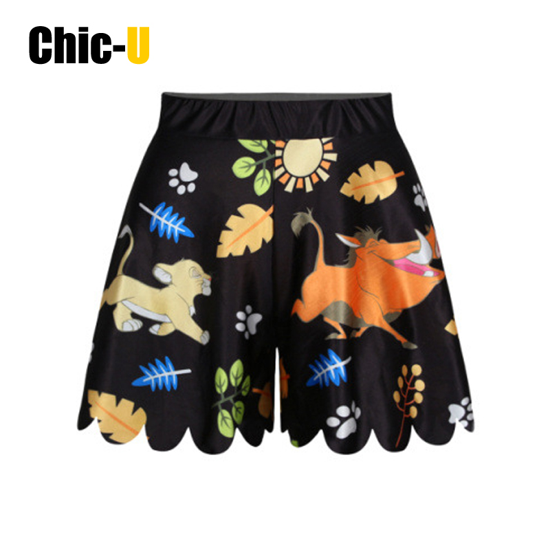 women shorts skirt cotton 3D cartoon print lion and pig on grass land summer fashion high waist for girl(China (Mainland))