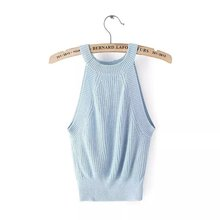 Sexy Brandy Melville Knitted Tank Bustier Fitness Short Crop Tops Halter Trendy Women Adventure Time Feminino Camisetas 7 Colors(China (Mainland))