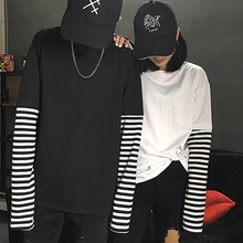 Buy Camiseta Mujer 2017 Fashion Tee Tops Korean Ulzzang Harajuku Striped Long Sleeve T-shirt Women O-neck Patchwork Tshirts for $14.50 in AliExpress store
