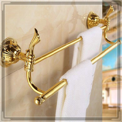 "(24"",60cm) Double Towel Bar Golden finishing/Towel Holder,towel rack,Bathroom accessories bath furniture ZP-9311 double brush(China (Mainland))"