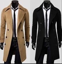 2016 winter British Style Trench Coat Men Long Double Breasted Men's Jackets Brand Outdoors Overcoat Black Mens Jacket(China (Mainland))