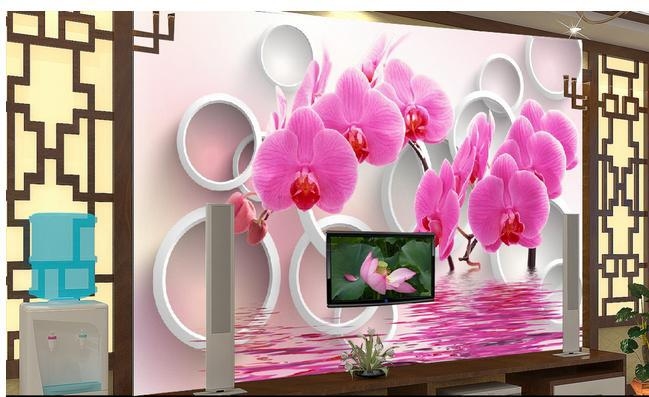 Free shopping 2015 New 3 d TV 3 d home The sitting room 3 d butterfly orchid reflection TV setting wall picture wallpaper(China (Mainland))