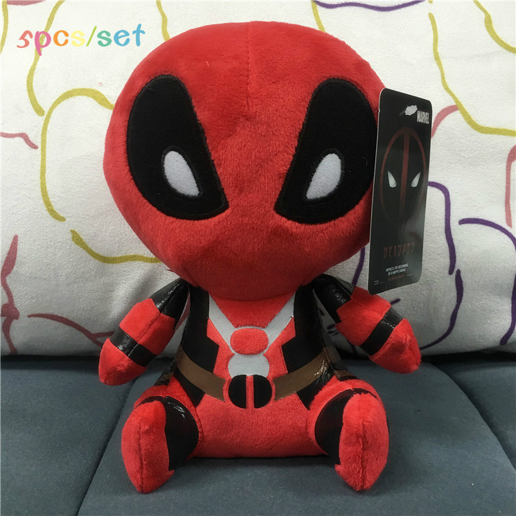 New 5pcs/set Hot Marvel Movie Deadpool Soft FUNKO POP Soft Stuffed Deadpool Spiderman Plush Doll Toy Figure 20CM Kids Baby Gift(China (Mainland))