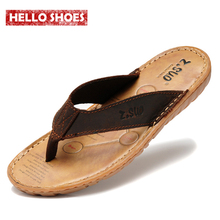 Men's flip flops Genuine leather Slippers Summer fashion beach sandals shoes for men plus size Eur :38-47 pantufa Hot Sell(China (Mainland))