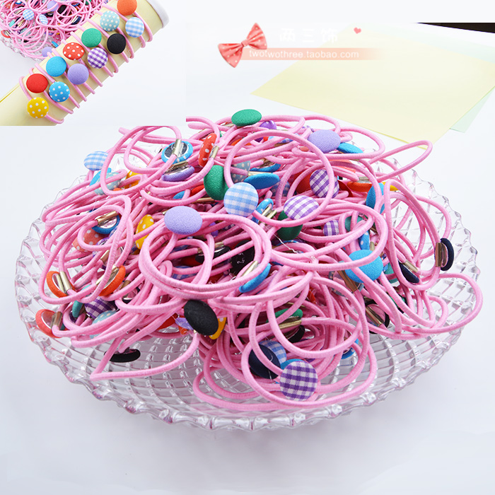Child hair accessory simple cloth buckle baby female headband,dotted plaid elastic band for hair,mix colors packing,1000pcs/lot(China (Mainland))