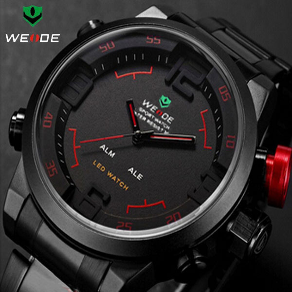 Weide Fashion Men Full Steel Waterproof Diver Sport Wristwatches Multifunctional LED Dual Time Quartz Watches Relogio Masculino - Zhuosen E-commerce WY store