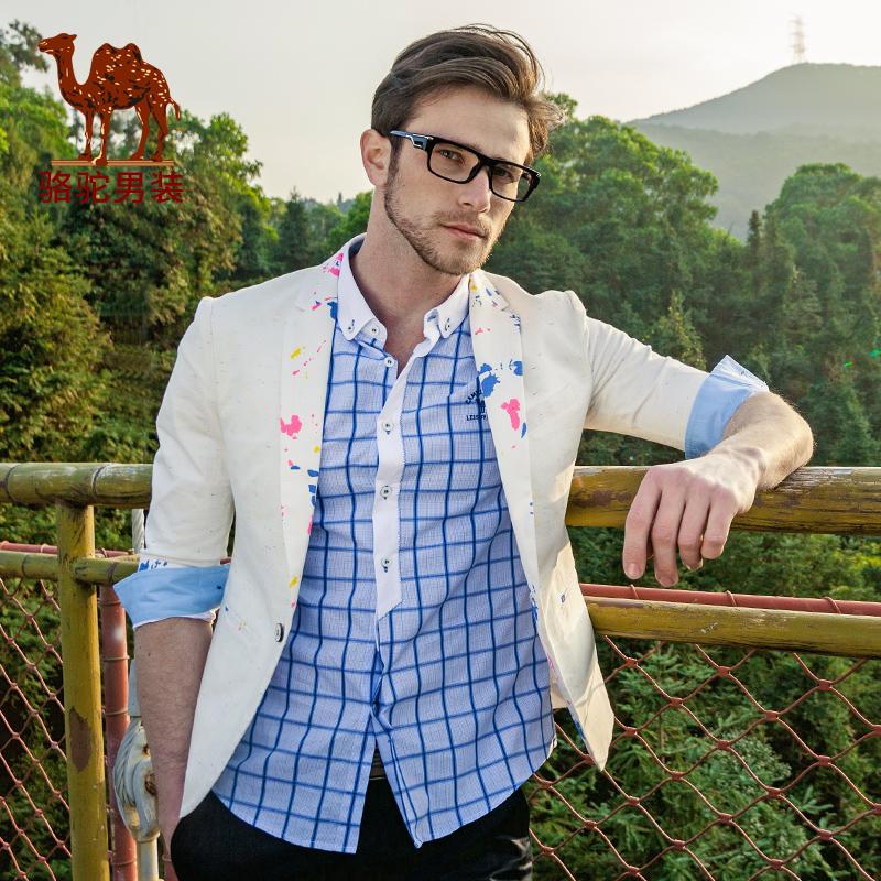 Camel mens clothing 2016 spring male slim three quarter sleeve shirt color block decoration male 2016 X6K185075Одежда и ак�е��уары<br><br><br>Aliexpress