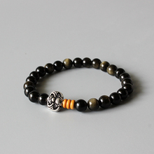 Wholesale Golden Obsidian Beads Stretch Bracelet With Antique Copper Chinese Ethnic Lucky Charms Artisan Crafted Jewelry For Men(China (Mainland))