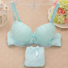 Solid color thin section 2016 summer girls lace lingerie small chest gather adjustable bra comfortable cotton underwear sets