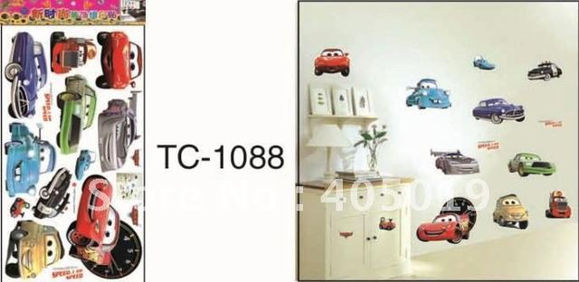33x60cm TC1088 Cars Wall Sticker Kid Favorite Cartoon Figure Window Cling Mixable Children Room Daycare Decal Free Drop Ship