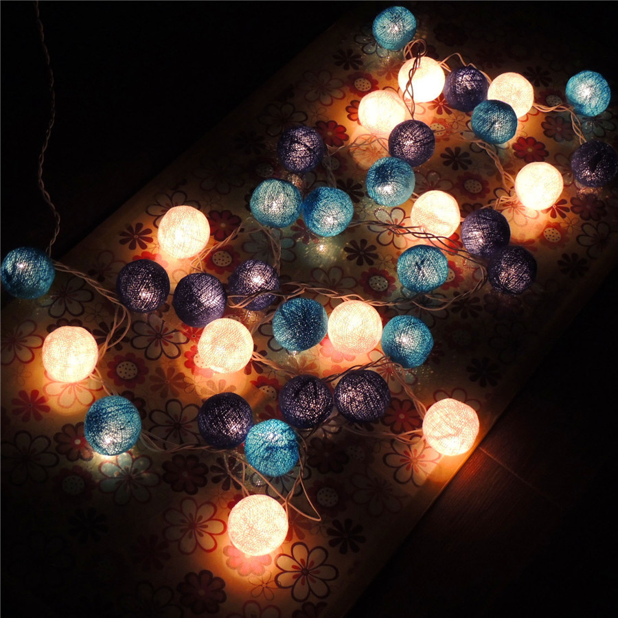 Beautiful Mix sky blue/navy blue/white Rattan 35 balls light party indoor outdoor Woven wire ball decorative lamp string(China (Mainland))