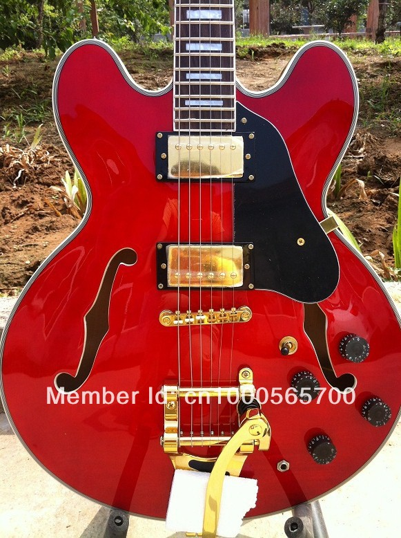 G-USA  cherry red 1963 ES-335 block marker guitar with Bigsby vibrato electric guitar with  free shipping<br><br>Aliexpress